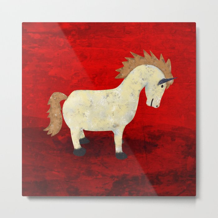 Vintage Pony Design Metal Print