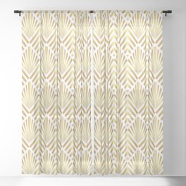 Gold art deco diamonds on white Sheer Curtain