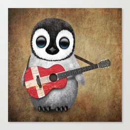 Baby Penguin Playing Danish Flag Acoustic Guitar Canvas Print