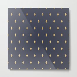 Simple Modern Gold Diamond Navy Blue Pattern Metal Print
