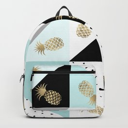 Pastel color block watercolor dots faux gold pineapple Backpack