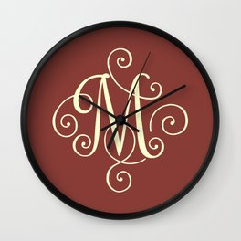 M Monogram - Red Wall Clock