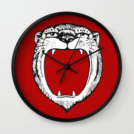 Tiger Head Red Wall Clock