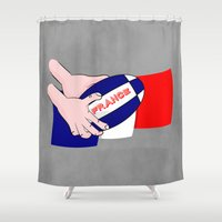 rugby Shower Curtains featuring France Rugby Ball Flag by mailboxdisco