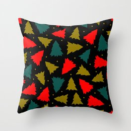 Red, Green, and Gold Christmas Trees Throw Pillow