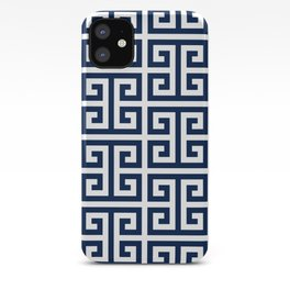 Dark Navy Blue and White Greek Key Pattern iPhone Case