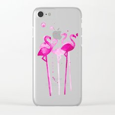Flamingo Stirrers Clear iPhone Case