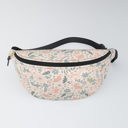 Floral Burst of Dinosaurs and Unicorns in Pink + Green Fanny Pack