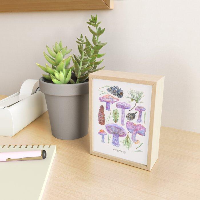 Wood Blewits and Pine - Botanical Framed Mini Art Print
