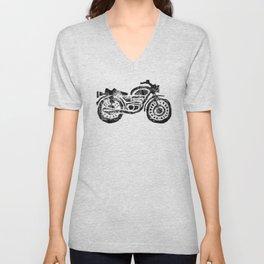 Motorcycle Linocut Block Print Unisex V-Neck