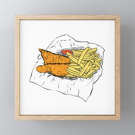 Illustration of a British Snack - Fish and chips Framed Mini Art Print