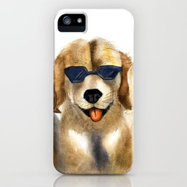 Yellow dogs  in funny glasses iPhone Case