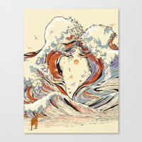 waves Canvas Prints featuring The Wave of Love by Huebucket