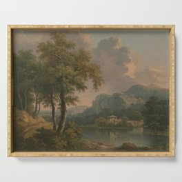 Abraham Pether - Wooded Hilly Landscape (1785) Serving Tray