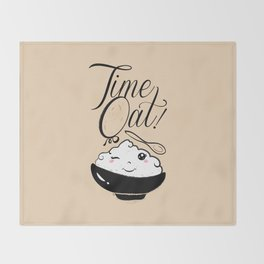 Time Oat - Funny Kawaii Oatmeal Throw Blanket
