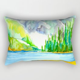 Lake Louise Watercolor Rectangular Pillow