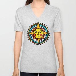 Yellow Sun Mandala Unisex V-Neck
