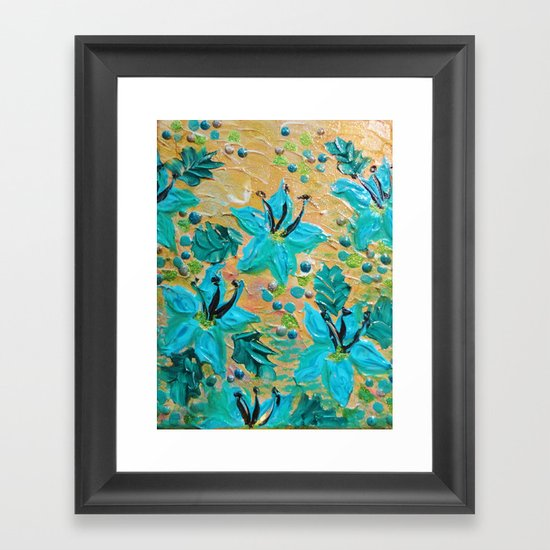 BLOOMING BEAUTIFUL - Modern Abstract Acrylic Tropical Floral Painting, Home Decor Gift for Her Framed Art Print