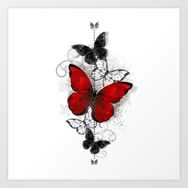 Red and Black Butterflies Art Print