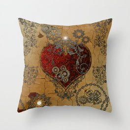 Steampunk, awesome heart Throw Pillow
