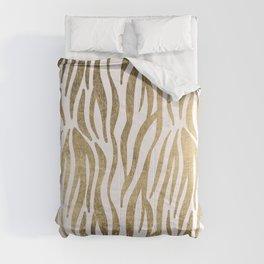 Chic faux gold white modern zebra animal print pattern Comforters
