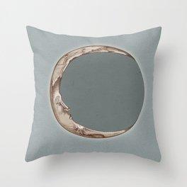 Waning Crescent Blue Throw Pillow