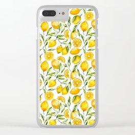 sunny lemons print Clear iPhone Case