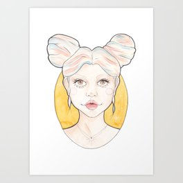 Clio, a Girl with Pink and Blue Streaked Blonde Hair Watercolor Illustration Art Print