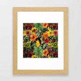 Tropical Vintage Exotic Jungle Flower Flowers - Floral watercolor pattern Framed Art Print
