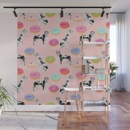 Great Dane donuts food lover dog person pet portrait by pet friendly dog breeds Wall Mural