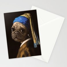pug with a pearl earring Stationery Cards