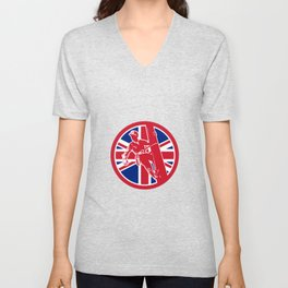 British Linesman Union Jack Flag Icon Unisex V-Neck