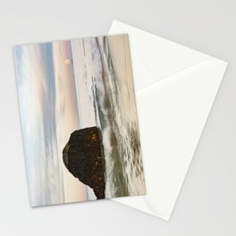 Pastel Moon rise at the beach Stationery Cards