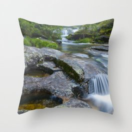 Waterfalls in wild forest Throw Pillow