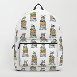 Gig tabby cat reading book library Painting Wall Poster Watercolor Backpack