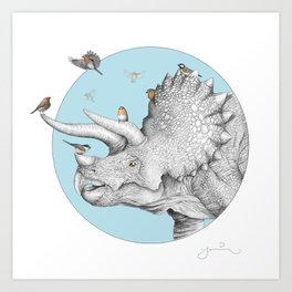 Triceratops and Birdies Art Print
