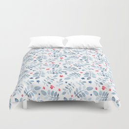 Modern red pastel blue watercolor floral pattern Duvet Cover