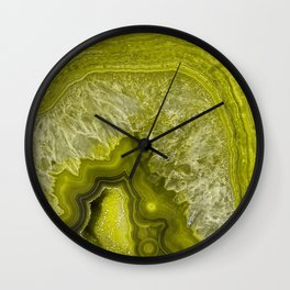 Green pantone agate mineral gem stone- Beautiful backdrop Wall Clock