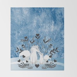 Arctic Fox Family Throw Blanket
