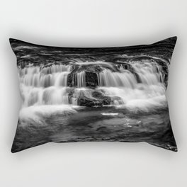 Welsh Waterfall in black and white Rectangular Pillow