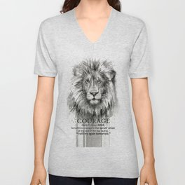 Lion Courage Motivational Quote Watercolor Painting Unisex V-Neck