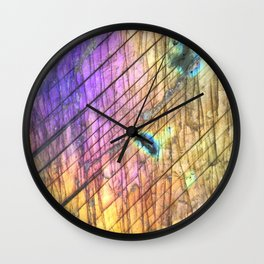 Golden Labradorite Agate Gemstone Wall Clock