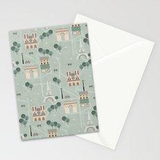 Paris Map Print Illustration Stationery Cards