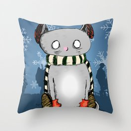 Snow Kitty Throw Pillow