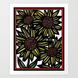Blellum Flowers Yellow Red Black Art Print