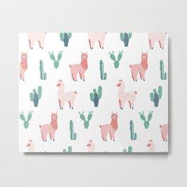 Alpacas And Cactus Pattern Metal Print