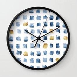 Watercolor Indigo Gold Geometrical Squares Pattern Wall Clock
