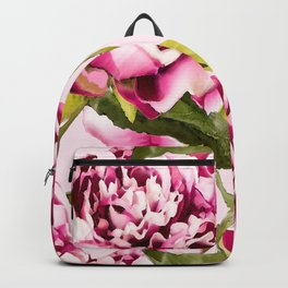 Peonies on a pastel pink background - #Society6 #buyart Backpack