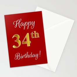 """Elegant """"Happy 34th Birthday!"""" With Faux/Imitation Gold-Inspired Color Pattern Number (on Red) Stationery Cards"""