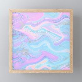 Sea Marble Candy Pattern - Violet, Aqua and Blue Framed Mini Art Print